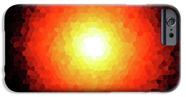 Fireball iPhone Cases - Fireball Sunburst Melted Stain Glass  iPhone Case by Andee Design