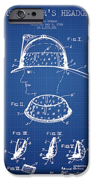 Gear iPhone Cases - Firefighter Headgear Patent drawing from 1926 - blueprint iPhone Case by Aged Pixel