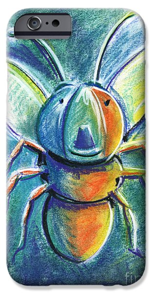 For Children Pastels iPhone Cases - Firefly For Children Pastel Chalk Drawing iPhone Case by Frank Ramspott