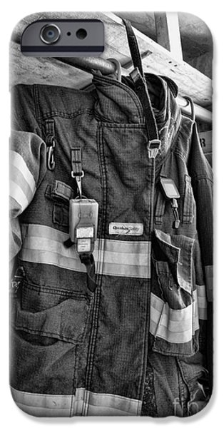 Paul Pierce iPhone Cases - Fireman - Saftey Jacket Black and White iPhone Case by Paul Ward