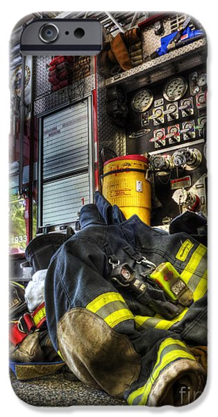 Decorative Art iPhone Cases - Fireman - Always Ready for Duty iPhone Case by Lee Dos Santos
