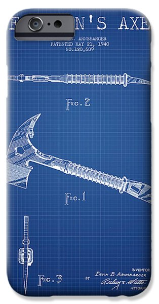 Gear iPhone Cases - Fireman Axe Patent drawing from 1940 - Blueprint iPhone Case by Aged Pixel