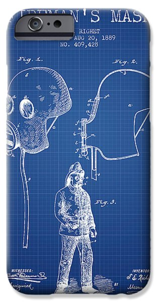 Gear iPhone Cases - Firemans Mask Patent from 1889 - Blueprint iPhone Case by Aged Pixel