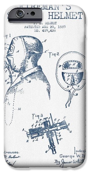 Gear Drawings iPhone Cases - Firemans Safety Helmet Patent from 1889 - Blue Ink iPhone Case by Aged Pixel