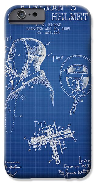 Gear iPhone Cases - Firemans Safety Helmet Patent from 1889 - Blueprint iPhone Case by Aged Pixel