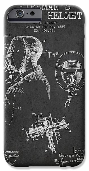Gear Drawings iPhone Cases - Firemans Safety Helmet Patent from 1889 - Dark iPhone Case by Aged Pixel