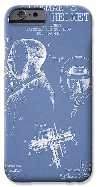 Gear Drawings iPhone Cases - Firemans Safety Helmet Patent from 1889 - Light Blue iPhone Case by Aged Pixel