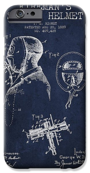Gear iPhone Cases - Firemans Safety Helmet Patent from 1889 - Navy Blue iPhone Case by Aged Pixel