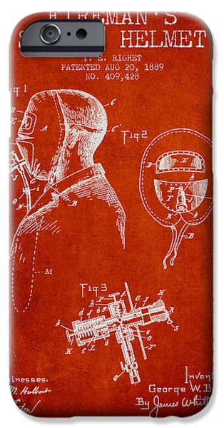 Gear Drawings iPhone Cases - Firemans Safety Helmet Patent from 1889 - Red iPhone Case by Aged Pixel