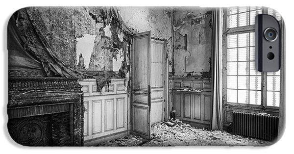 Haunted House iPhone Cases - Fireplace In Decay -abandoned Building iPhone Case by Dirk Ercken