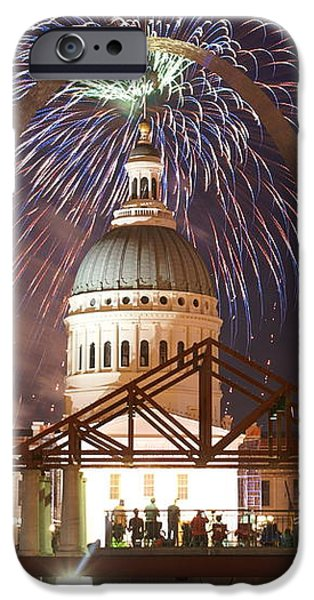 Fireworks at the Arch 1 iPhone Case by Marty Koch
