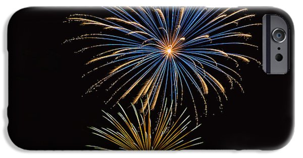 Fourth Of July iPhone Cases - Fireworks Blue and Gold2 iPhone Case by Karen Martin