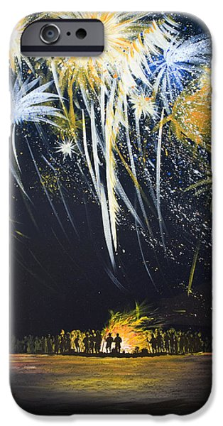 Fourth Of July Paintings iPhone Cases - Fireworks Bonfire on the West bar iPhone Case by Charles Harden