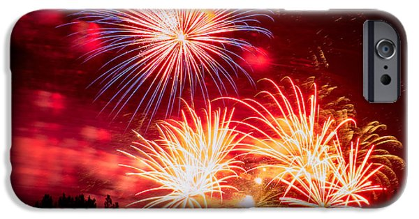 Fourth Of July iPhone Cases - Fireworks Finale iPhone Case by Karen Martin