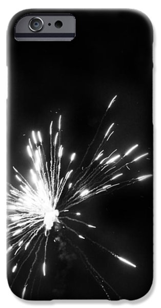 Fourth Of July iPhone Cases - Fireworks in Black and White 1 iPhone Case by Kelly Hazel