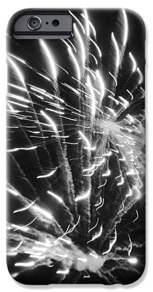 Fourth Of July iPhone Cases - Fireworks in Black and White 2 iPhone Case by Kelly Hazel
