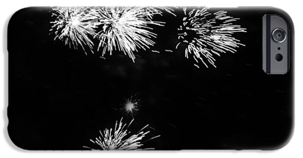 Fourth Of July iPhone Cases - Fireworks in Black and White 3 iPhone Case by Kelly Hazel