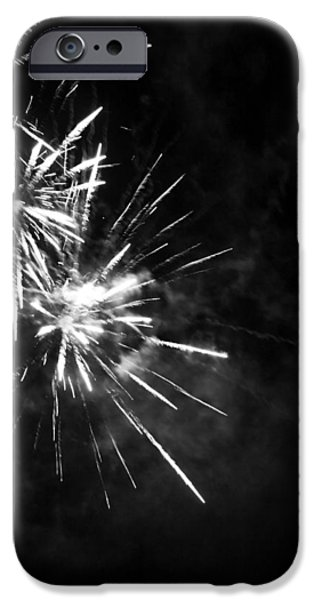July iPhone Cases - Fireworks in Black and White 5 iPhone Case by Kelly Hazel