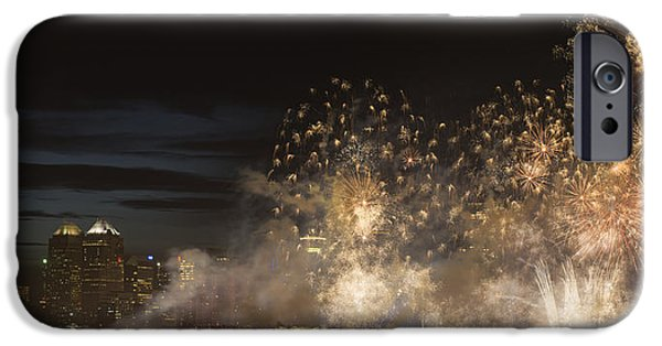 Fireworks iPhone Cases - Fireworks In Front Of Modern City iPhone Case by Philippe Widling