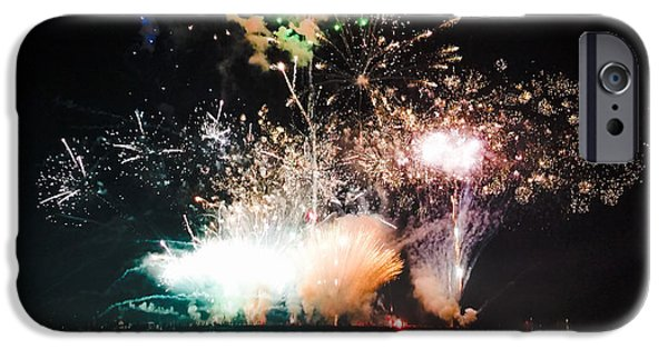Fourth Of July iPhone Cases - Fireworks - Munising Harbor iPhone Case by Leesa Burford
