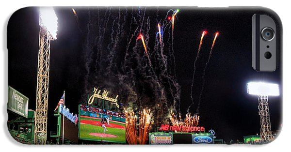 Fenway Park iPhone Cases - Fireworks over Fenway Park - Boston iPhone Case by Joann Vitali