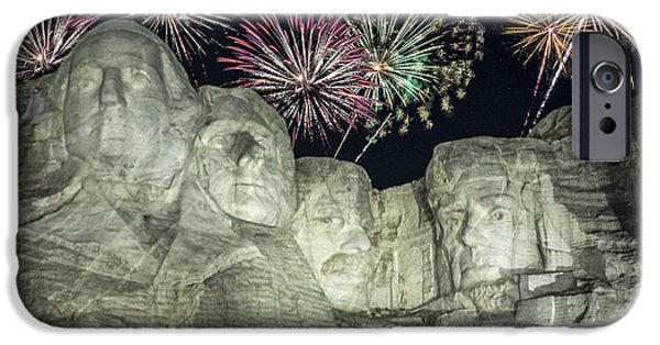 Lincoln iPhone Cases - Fireworks Over Rushmore iPhone Case by Jan and Burt Williams