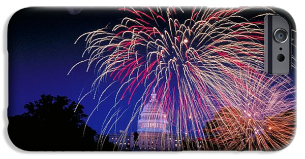 Fireworks iPhone Cases - Fireworks Over The Capitol iPhone Case by George Chan