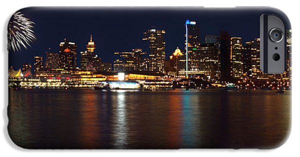 Fireworks iPhone Cases - Fireworks Over Vancouver iPhone Case by Raskhan Kaderi
