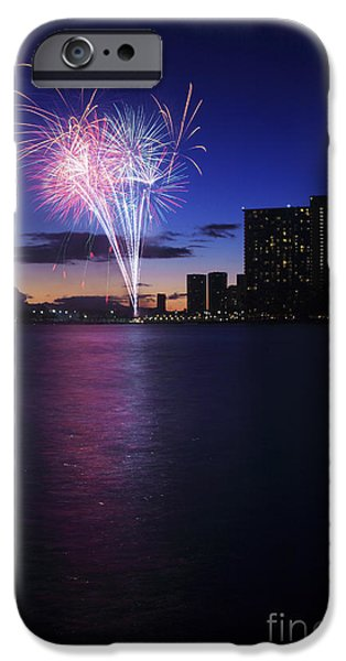 Fireworks over Waikiki iPhone Case by Brandon Tabiolo - Printscapes