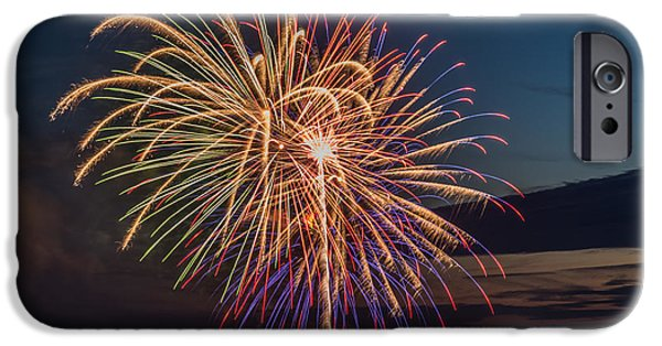 4th July iPhone Cases - Fireworks over Yachats iPhone Case by Mike Watts