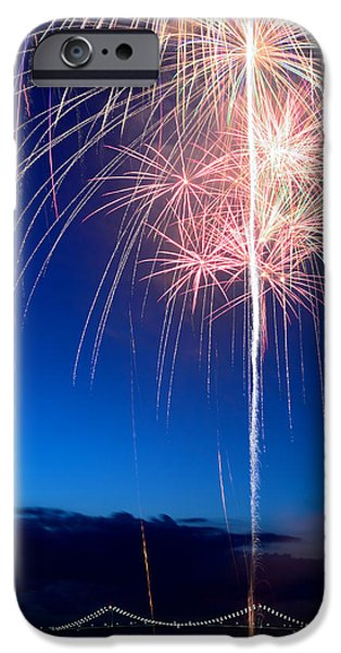 4th July Paintings iPhone Cases - Fireworks iPhone Case by Ravi Kiran