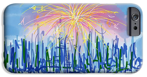 Abstract Digital Drawings iPhone Cases - Fireworks iPhone Case by Robert Yaeger