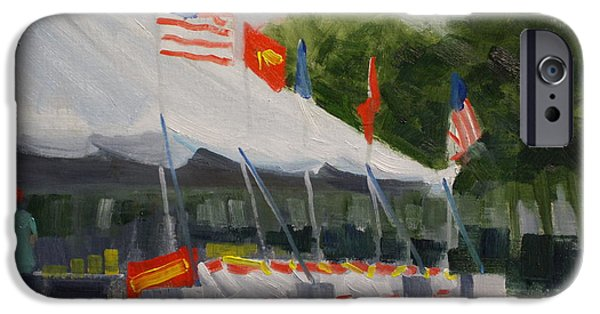 4th July Paintings iPhone Cases - Fireworks Tent iPhone Case by Robert Rohrich