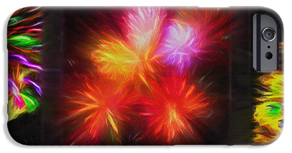 Fireworks iPhone Cases - Fireworks Triptych 2 iPhone Case by Steve Ohlsen