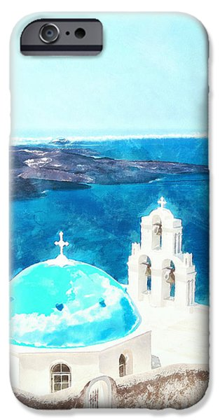 Village iPhone Cases - Firostefani church digital watercolor painting iPhone Case by Antony McAulay