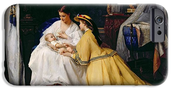 Manger iPhone Cases - First Born iPhone Case by Gustave Leonard de Jonghe