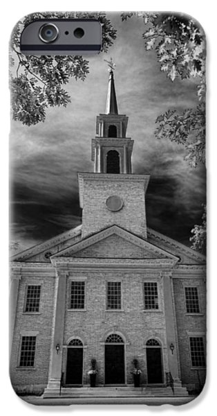 United iPhone Cases - First Congregational Church of Stockbridge iPhone Case by Stephen Stookey