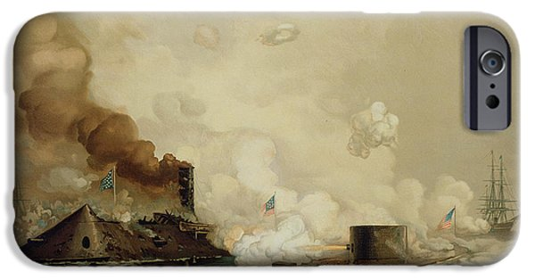 History iPhone Cases - First Fight between Ironclads iPhone Case by Julian Oliver Davidson