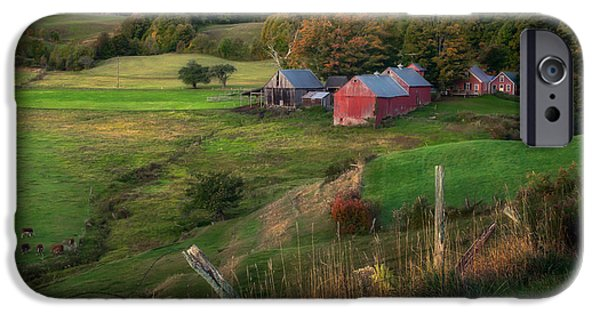 Fall iPhone Cases - First Light at Jenne farm iPhone Case by Scott Thorp