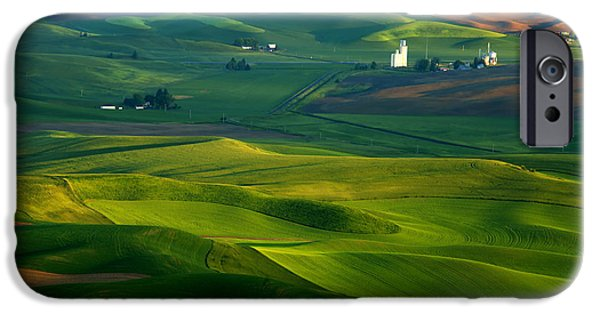 Agriculture iPhone Cases - First light on the Palouse iPhone Case by Mike  Dawson