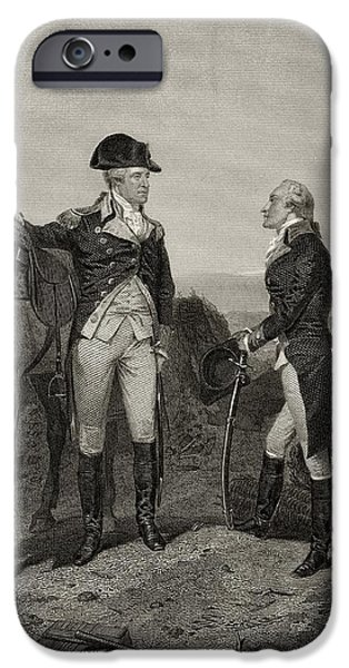 First Black President Drawings iPhone Cases - First Meeting Of George Washington 1732 iPhone Case by Ken Welsh