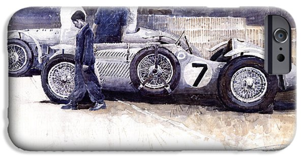 Racingcars iPhone Cases - First Met Up Talbot Lago Le Mans 1950 iPhone Case by Yuriy  Shevchuk