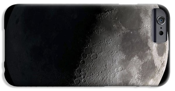 Backgrounds iPhone Cases - First Quarter Moon iPhone Case by Stocktrek Images