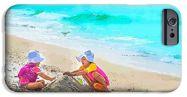 A Hot Summer Day iPhone Cases - First Sand Castle iPhone Case by Susan Molnar