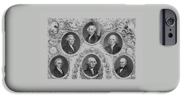 Thomas Jefferson iPhone Cases - First Six U.S. Presidents iPhone Case by War Is Hell Store