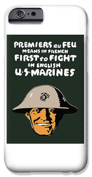 Grunts iPhone Cases - First To Fight - US Marines iPhone Case by War Is Hell Store