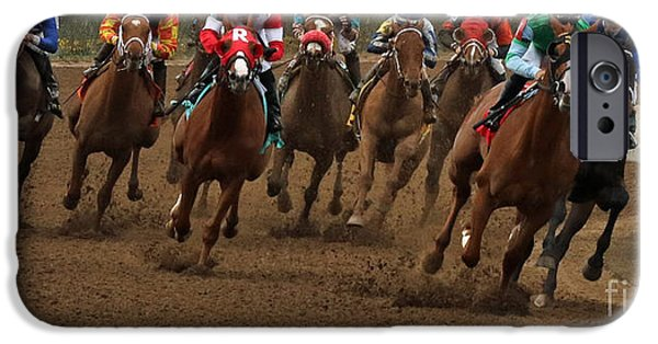 Keeneland iPhone Cases - First Turn at Keeneland iPhone Case by Angela Gallagher