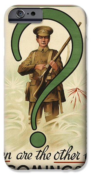 World War One iPhone Cases - First World War Recruiting Poster iPhone Case by Ken Welsh