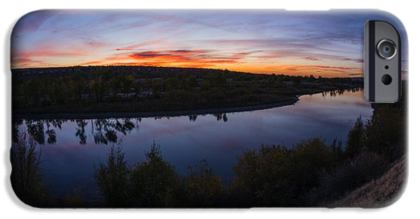 Red Rock iPhone Cases - Fish eye view of Boise River Sunset in Boise Idaho iPhone Case by Vishwanath Bhat