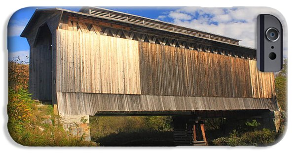 Historic Site iPhone Cases - Fisher Covered Railroad Bridge Vermont iPhone Case by John Burk